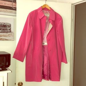 HOT PINK Liz Claiborne Trench Coat Size XL